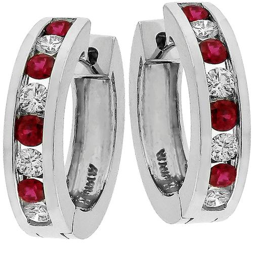 0.60ct Ruby 0.40ct Diamond Hoops Earrings