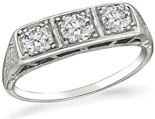Old Mine Cut Diamond Platinum Ring