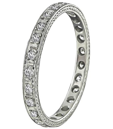 Art Deco Style Old Mine Cut Diamond Platinum Eternity Wedding Band