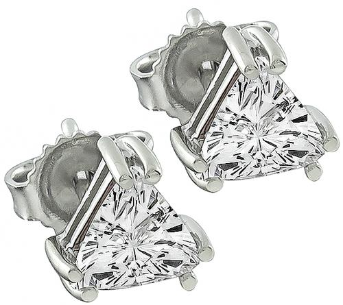 Trilliant Cut Diamond 14k White Gold Studs Earrings