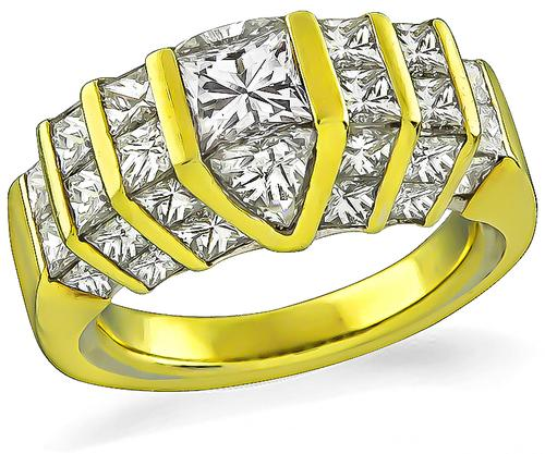 2.80cttw Princess and Trilliant Cut Diamond 18k Yellow Gold Ring