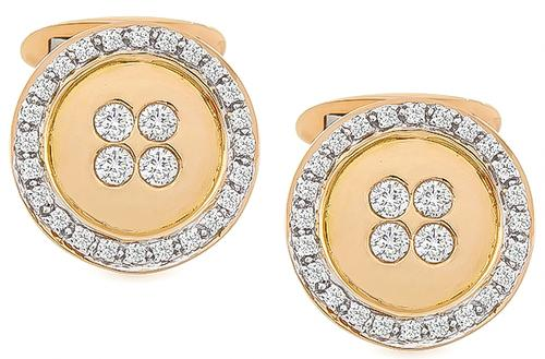 Round Cut Diamond 18k Pink Gold Cufflinks