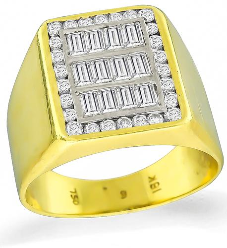 Baguette and Round Cut Diamond 18k Gold Ring