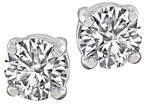 Round Cut Diamond 14k White Gold Studs Earrings