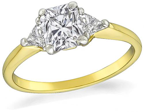 Radiant Cut Diamond 18k Yellow Gold and Platinum Engagement Ring