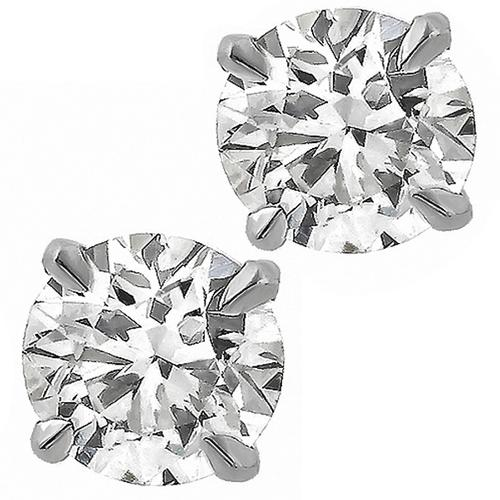 Estate  0.94ct  Round Cut Diamond 14k White Gold Studs Earrings