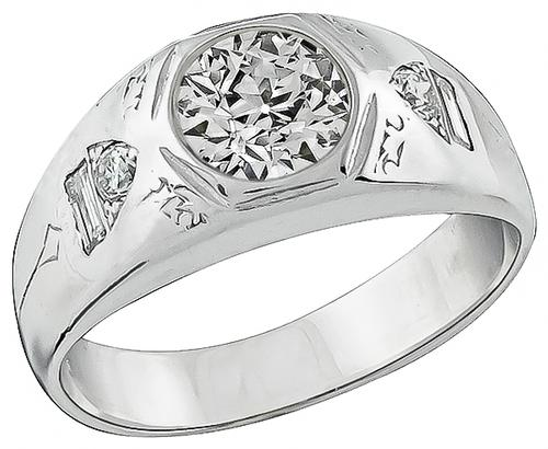Old Mine Cut Diamond 18k White Gold Men's Ring