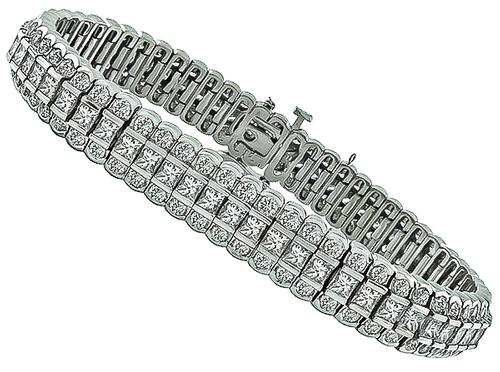 Princess and Round Cut Diamond 14k White Gold Bracelet