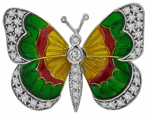 Vintage Enamel Round Cut Diamond 18k Yellow Gold Platinum Butterfly Pin