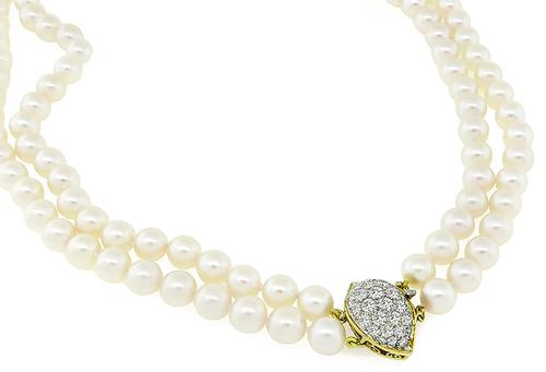 Round Cut Diamond Pearl 18k Yellow Gold Necklace
