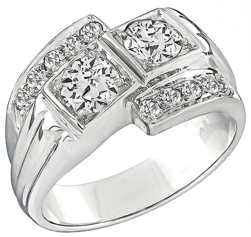 Old Mine Cut Diamond 14k White Gold Ring