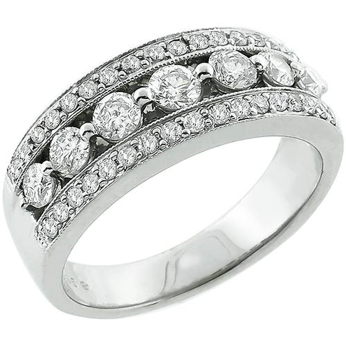 1.00ct Round Cut Diamond 14k White Gold Wedding Band