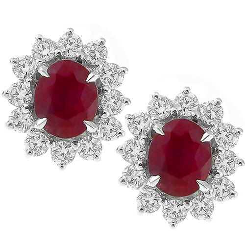 1.00ct Burmese Ruby 0.750ct Gold Stud Earrings