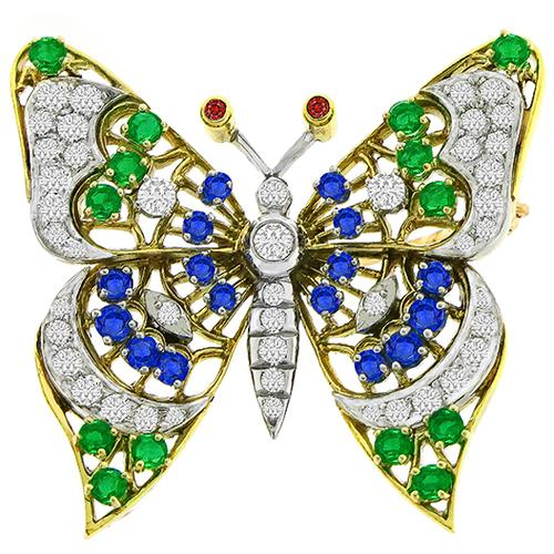 Diamond Sapphire  Emerald & Ruby  Gold Butterfly Pin