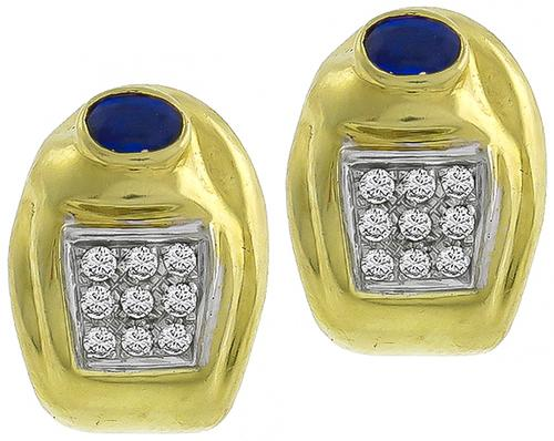 Oval Cut Sapphire Round Cut Diamond 18k Yellow and White Gold Earrings