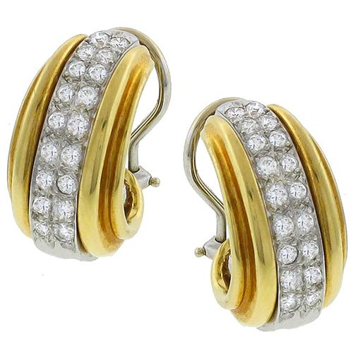 1.10ct Round Cut Diamond 14k   White Gold Earrings & 14k Yellow Gold Sleeve