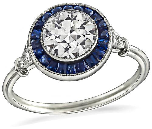 Art Deco Style Old Mine Cut Diamond Sapphire Platinum Engagement Ring