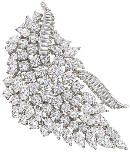 Round Baguette Marquise and Pear Shape Diamond Platinum Pin