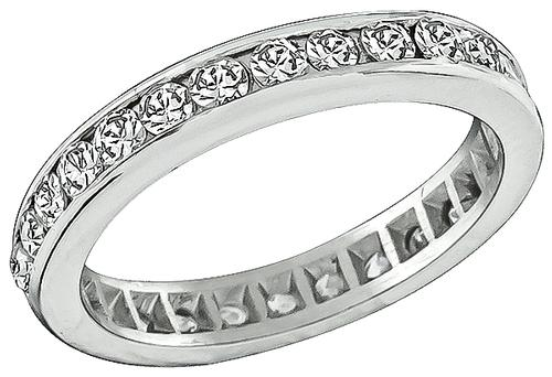 Old Mine Cut Diamond Platinum Eternity Wedding Band
