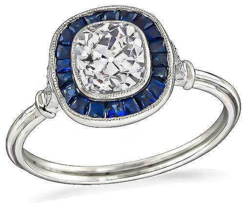 Cushion Cut Diamond Sapphire Platinum Engagement Ring
