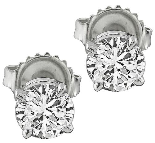 14k White Gold Round Cut Diamond Studs Earrings