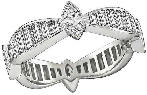 Marquise and Baguette Cut Diamond Platinum Eternity Wedding Band