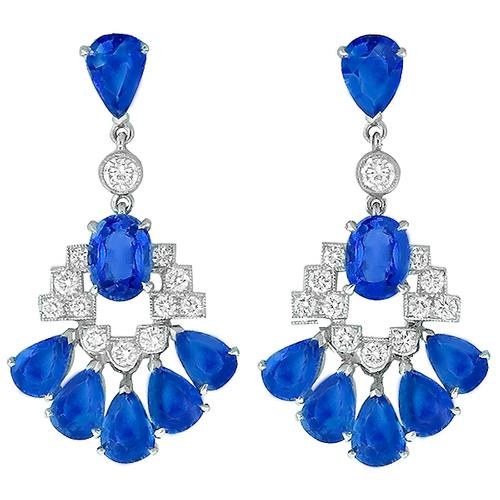 14.18ct Sapphire 1.20ct Diamond Gold Chandelier Earrings