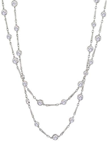Old Mine Cut Diamond Platinum By The Yard Necklace