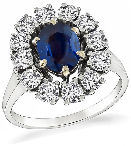 Oval Cut Sapphire Round Cut Diamond 18k White Gold Engagement Ring