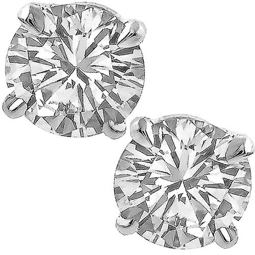 0.72ct & 0.73ct Round Cut Diamond 14k White Gold Studs Earrings