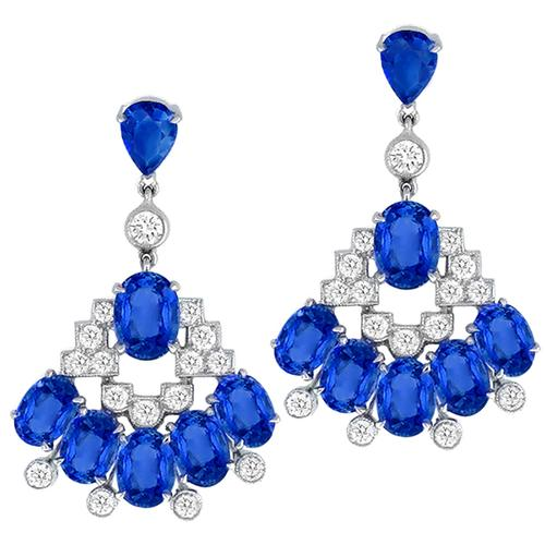 14.99ct Sapphire 1.60ct Diamond Gold Chandelier Earrings