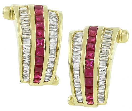 Baguette Cut Diamond Square Cut Ruby 14k Yellow Gold Earrings