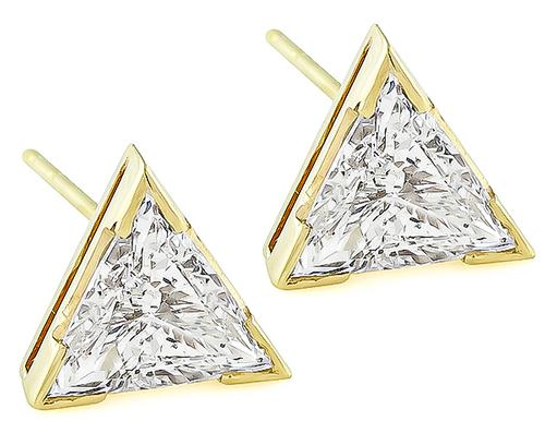 Trilliant Cut Diamond 14k Yellow Gold Studs Earrings