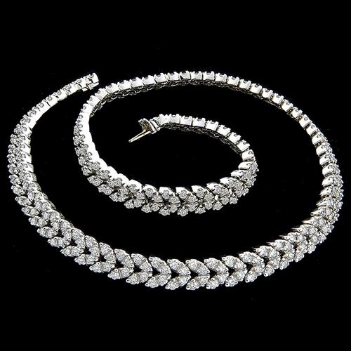 15.50ct Round Cut Diamond Cluster Chevron  18k  White Gold Necklace