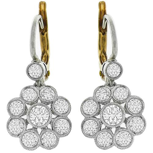 Diamond Platinum Gold Dangling Earrings