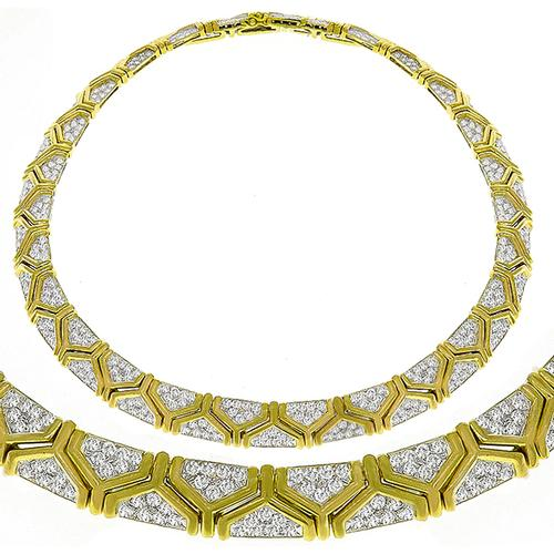 17.00ct Diamond Gold Geometric Necklace
