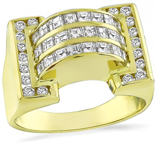 Square and Round Cut Diamond 18k Gold Ring