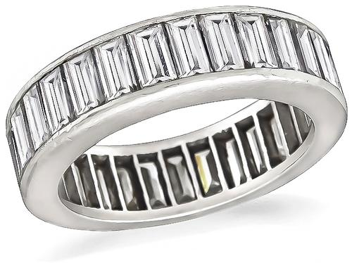 Baguette Cut Diamond Platinum Eternity Wedding Band