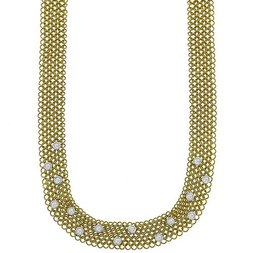 Diamond Gold Wire Mesh Necklace