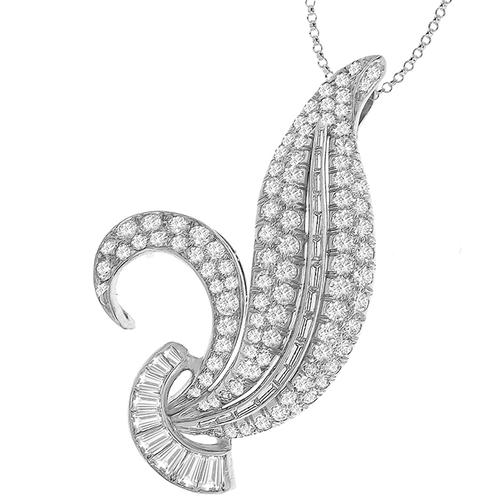 Estate 3.50ct Round & Baguette Cut Diamond Platinum  Leaf Pendant