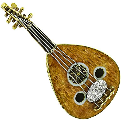 0.50ct Diamond Enamel Gold Lute/ Oud Pin