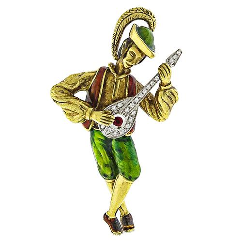 1.00ct Diamond 0.15ct Ruby Enamel  Gold Banjo Player Pin