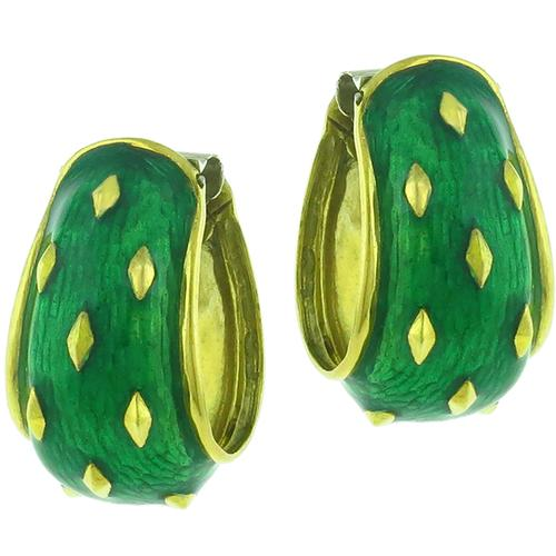 Estate Gold Enamel Cocoon Earrings