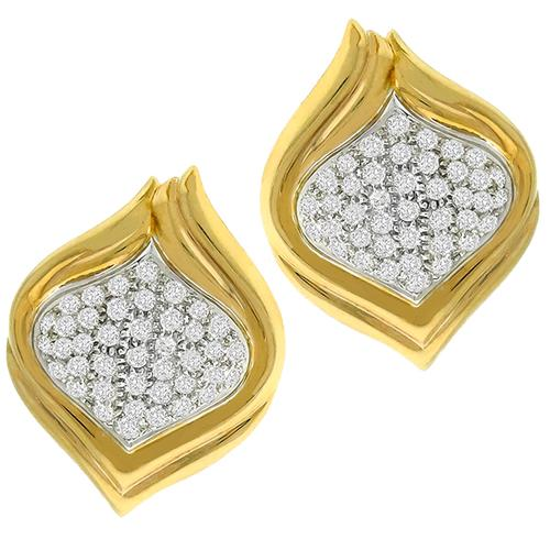 Diamond Gold Shield Earrings