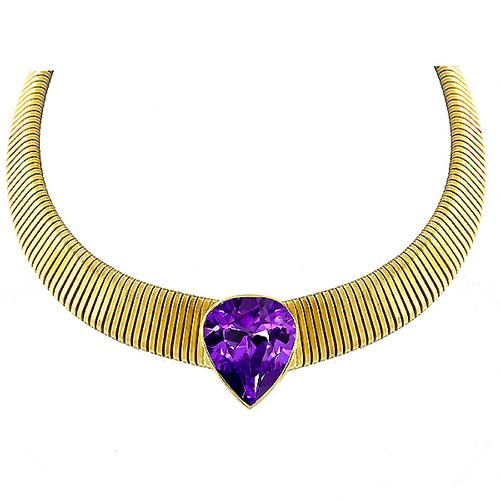 Vintage Estate 20.00ct Pear Cut Amethyst   18k Yellow Gold Omega Necklace
