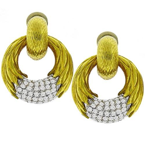 Diamond 2 Tone Gold Earrings