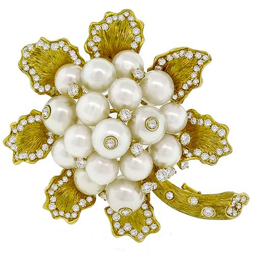 Diamond Gold Pearl Flower Pin