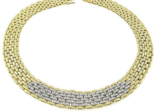 Round Cut Diamond 14k Yellow and White Gold Panthere Style Necklace