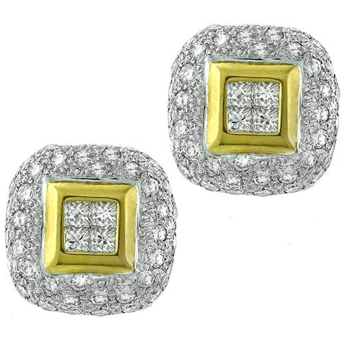 2.00ct Diamond Gold Shield Earrings