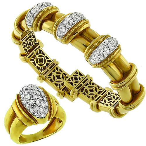 2.00ct Diamond 2 Tone Gold Bangle & Ring Set